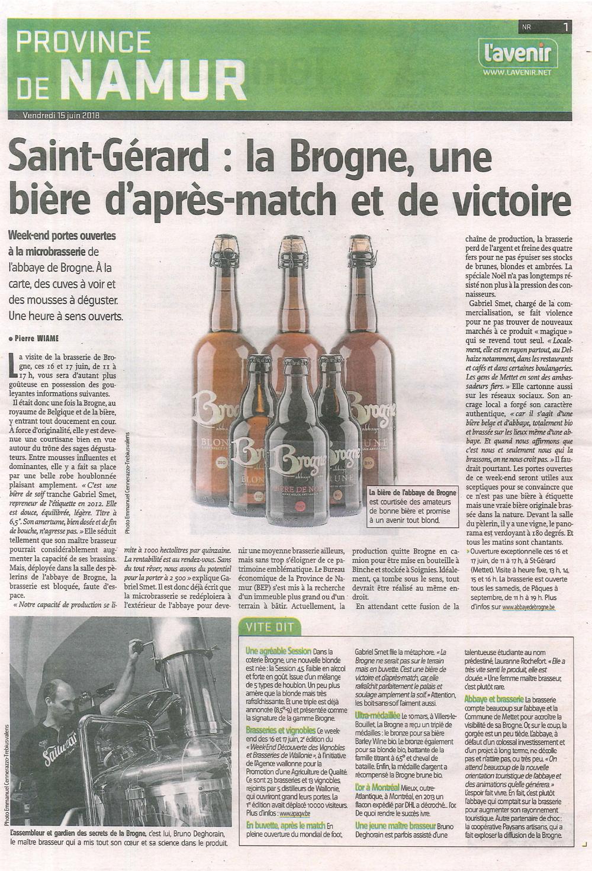 Saint-Gérard: la Brogne, une bière d'après-match et de victoire